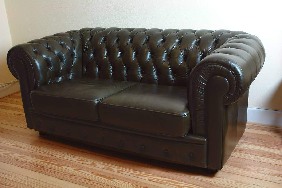 Couch sofa ledersofa zweisitzer chesterfield 1009 ebay for Ledersofa ebay