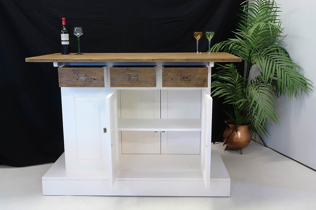theke bar tresen hausbar teak wei im modernen design 1651 ebay. Black Bedroom Furniture Sets. Home Design Ideas