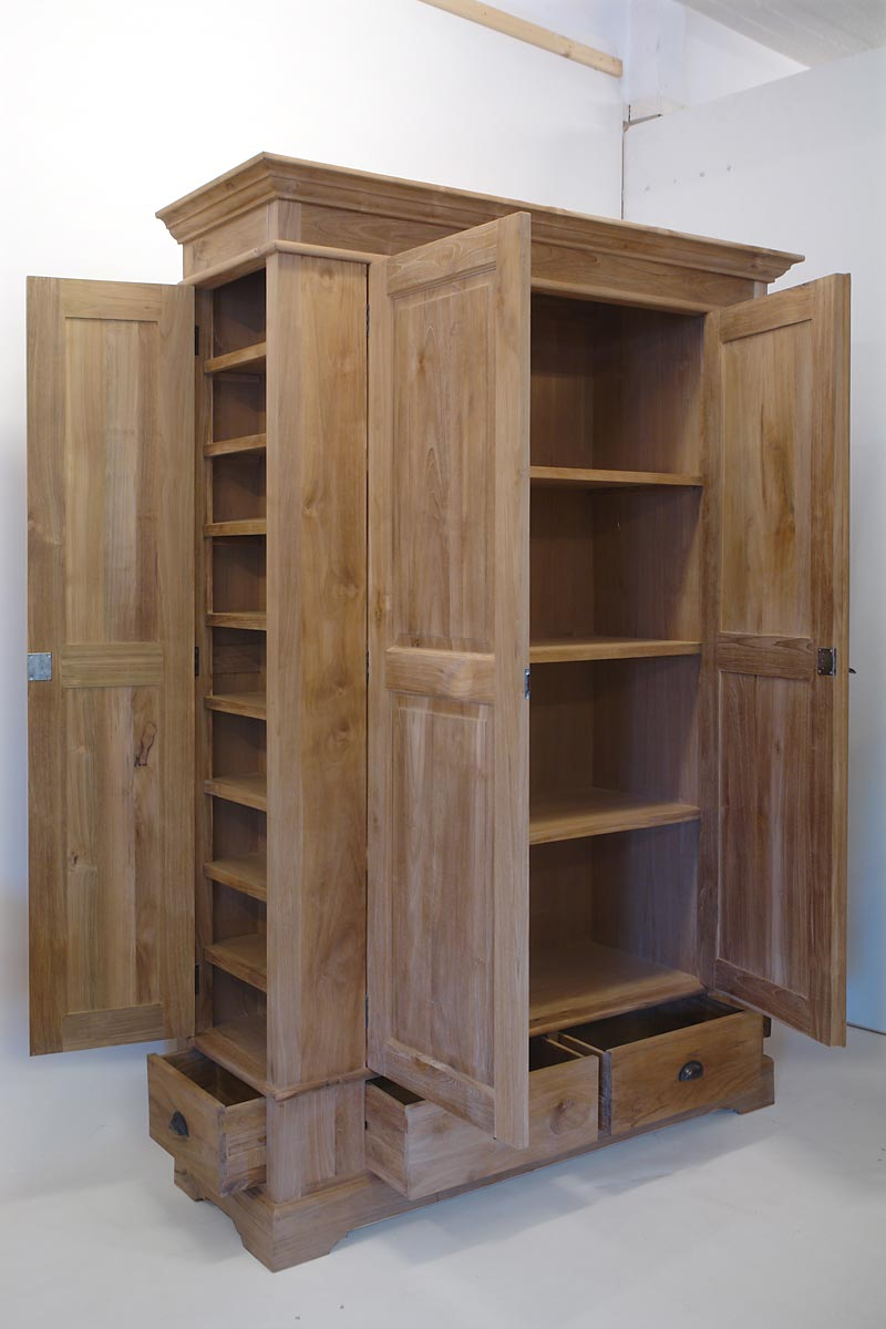 kleiderschrank schrank schlafzimmerschrank teakholz massiv natur 1670 ebay. Black Bedroom Furniture Sets. Home Design Ideas