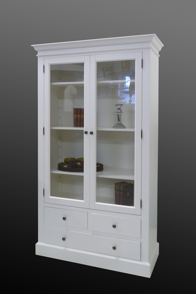 vitrine vitrine armoire placard blanc dans un style campagnard bois massif 2232 ebay. Black Bedroom Furniture Sets. Home Design Ideas