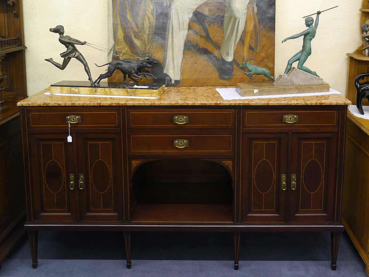 sideboard anrichte antik um 1920 1930 aus mahagoni mit edlen intarsien 2251 ebay. Black Bedroom Furniture Sets. Home Design Ideas
