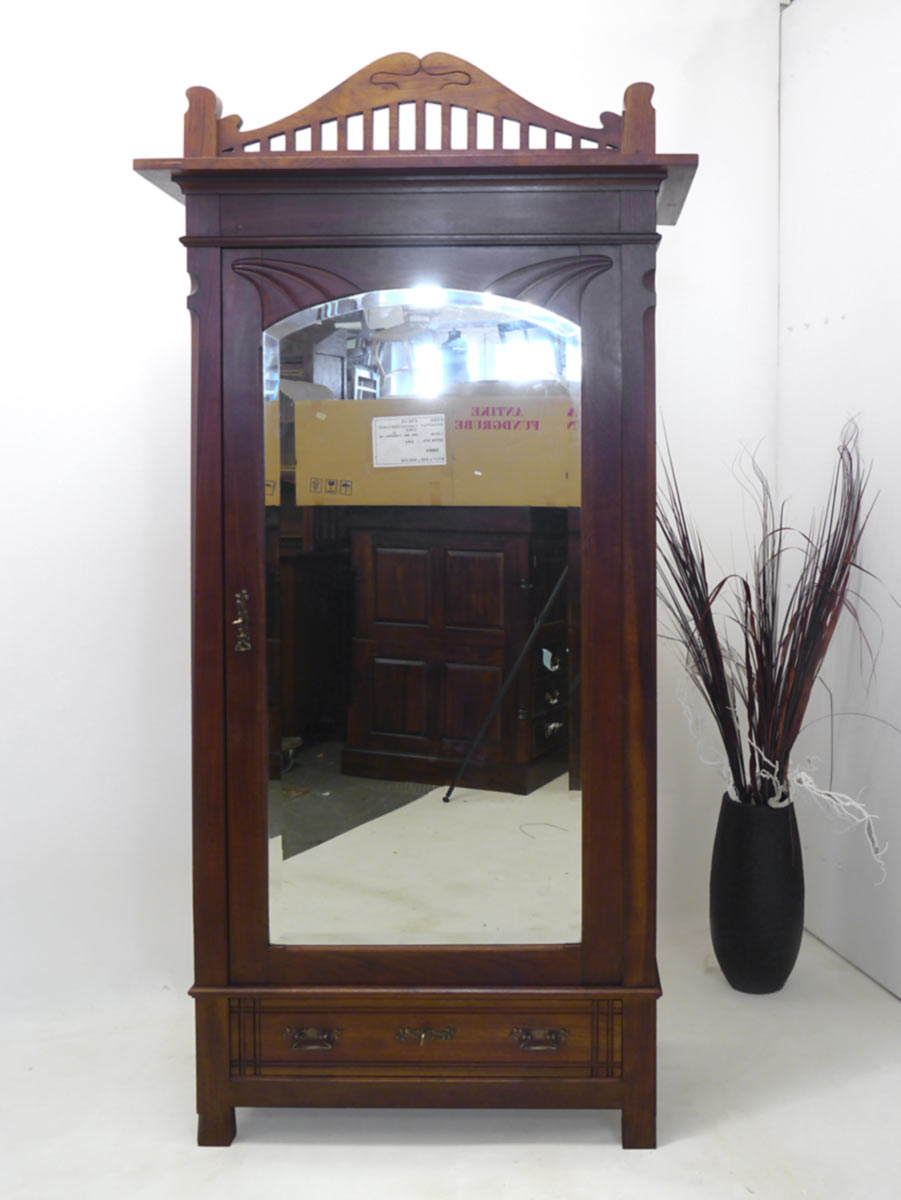 kleiderschrank schrank dielenschrank jugendstil um 1900 mahagoni 2334 ebay. Black Bedroom Furniture Sets. Home Design Ideas