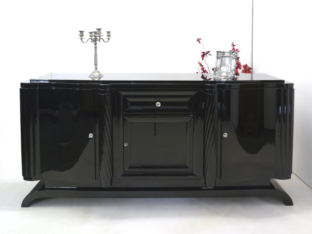 sideboard anrichte schrank art deco um 1920 franz sisch schwarz hochglanz 2494 ebay. Black Bedroom Furniture Sets. Home Design Ideas