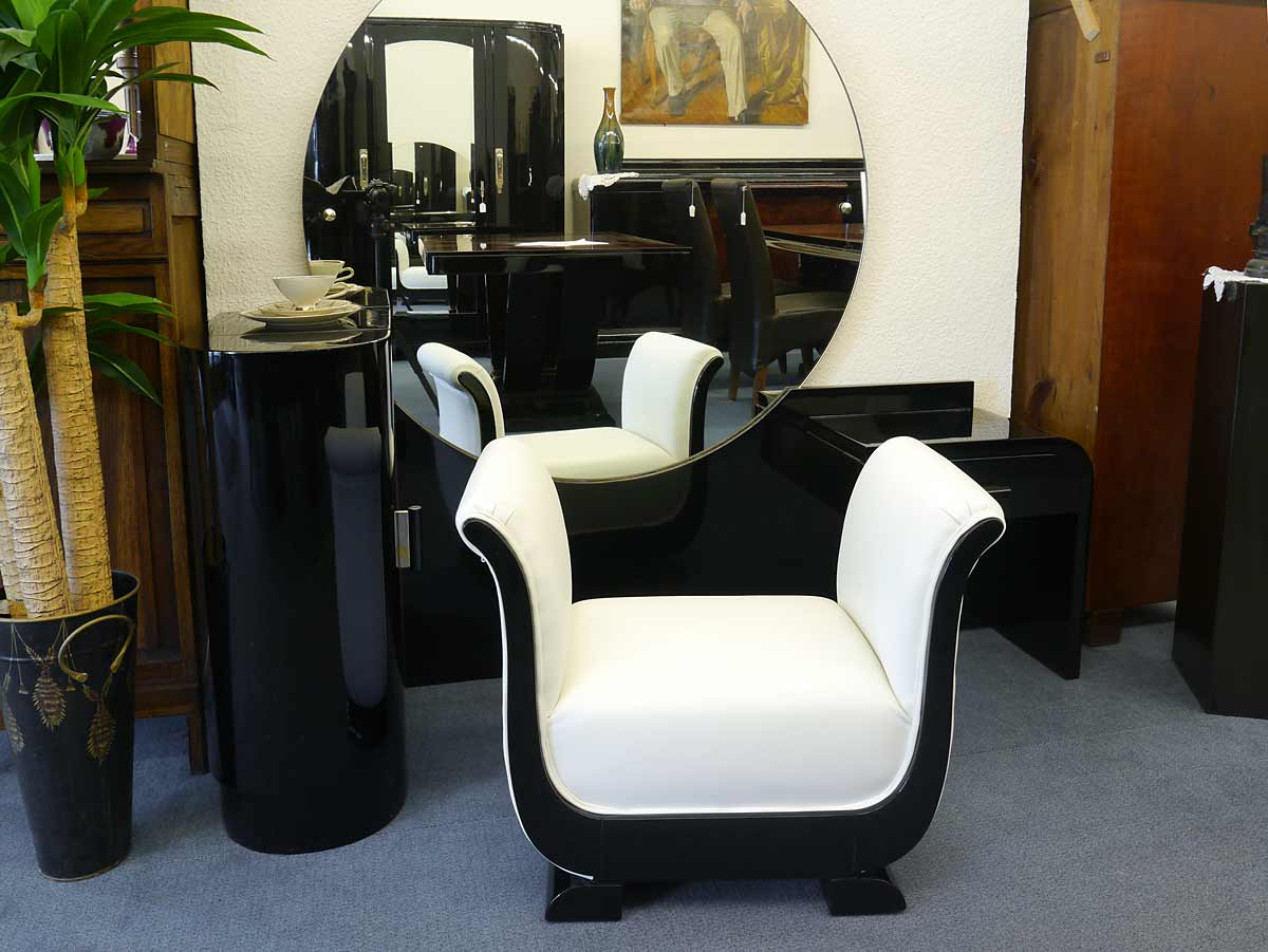 schminktisch frisiertisch coiffeuse hocker art deco schwarz hochgl nzend 3097 ebay. Black Bedroom Furniture Sets. Home Design Ideas