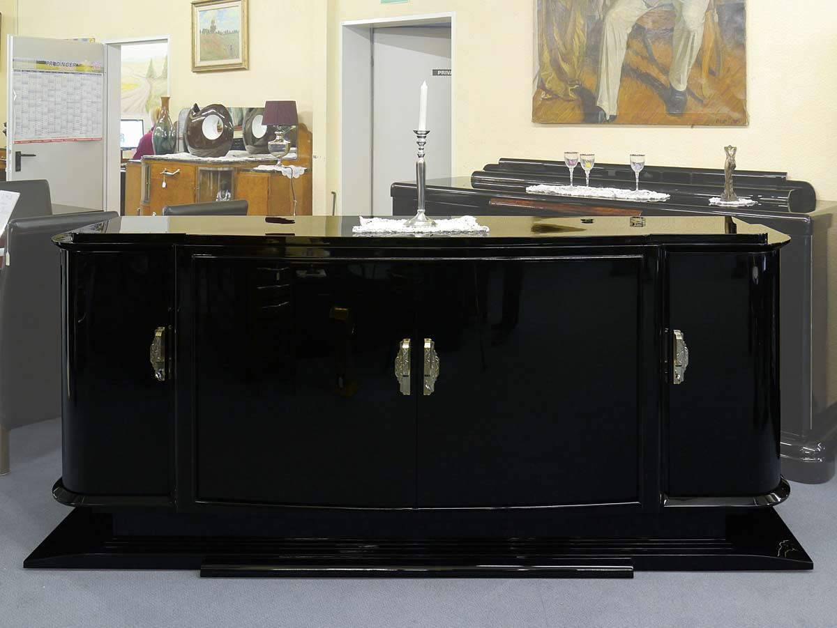 sideboard anrichte art deco original um 1925 schwarz hochglanz lackiert 3119 ebay. Black Bedroom Furniture Sets. Home Design Ideas