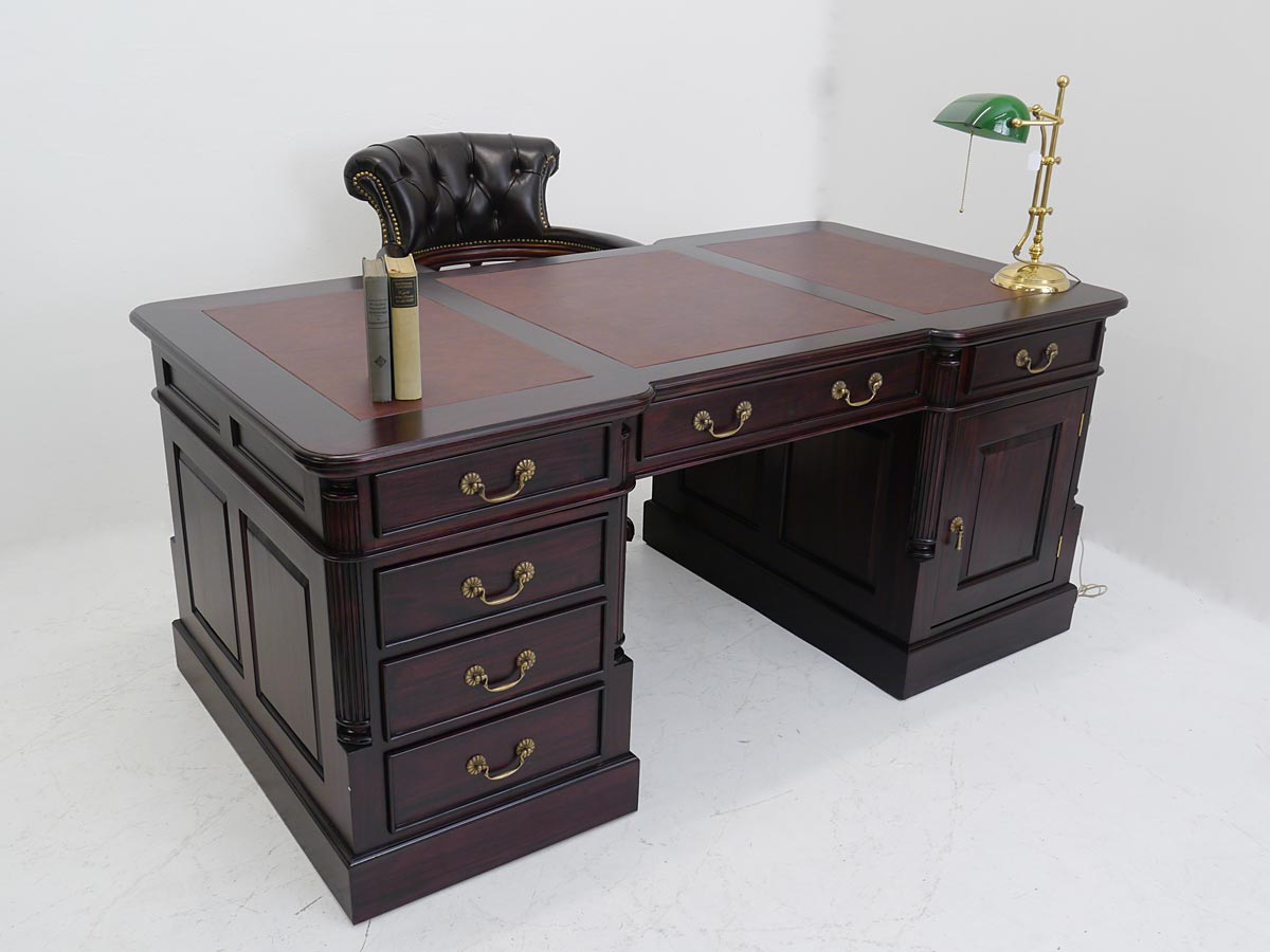schreibtisch partnerdesk b rom bel aus massivholz im mahagonifarbton 3311 ebay. Black Bedroom Furniture Sets. Home Design Ideas