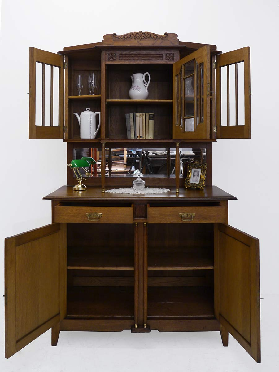 buffet k chenschrank buffetschrank antik jugendstil um 1910 eiche 3351 ebay. Black Bedroom Furniture Sets. Home Design Ideas