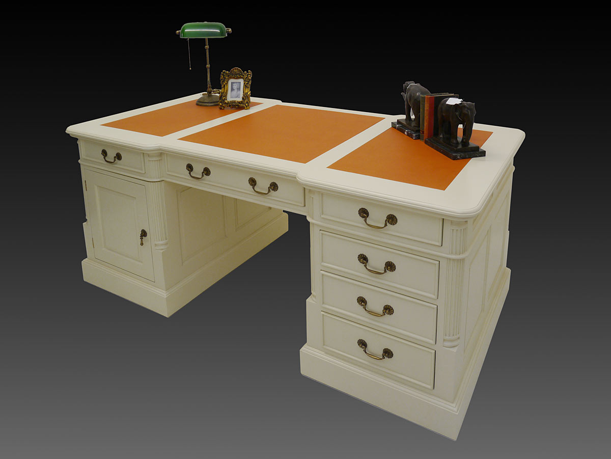 schreibtisch partnerdesk b rom bel massivholz creme weiss lederauflage 3368 ebay. Black Bedroom Furniture Sets. Home Design Ideas