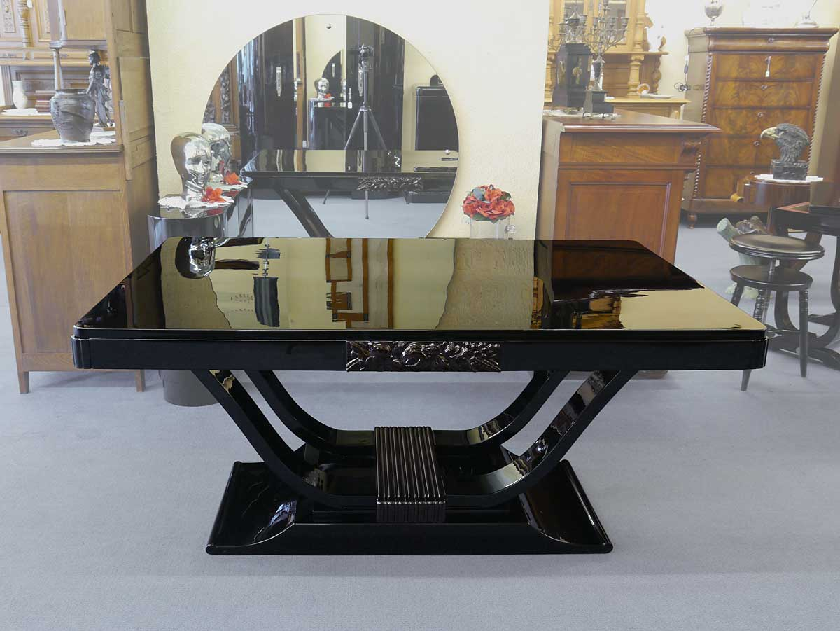 tisch esstisch kulissentisch franz sisches art deco um 1925 hochglanz 3607 ebay. Black Bedroom Furniture Sets. Home Design Ideas