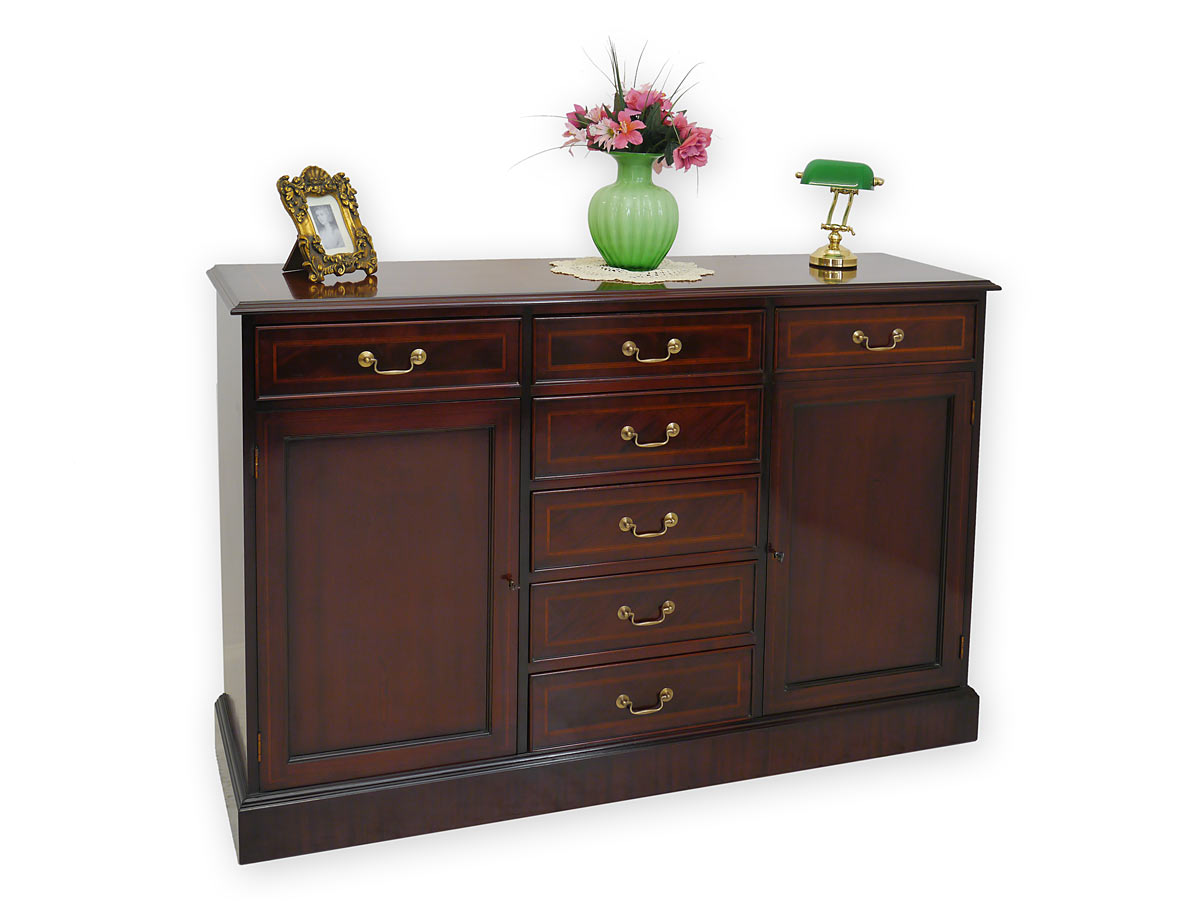 sideboard anrichte kommode englischer stil mahagoni mit intarsien 3643 ebay. Black Bedroom Furniture Sets. Home Design Ideas