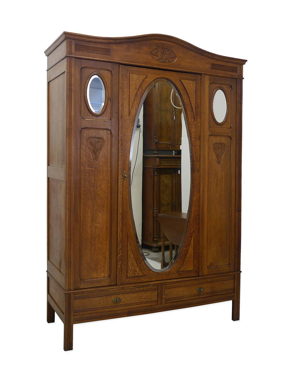 schrank kleiderschrank dielenschrank antik jugendstil um 1900 eiche 4004. Black Bedroom Furniture Sets. Home Design Ideas
