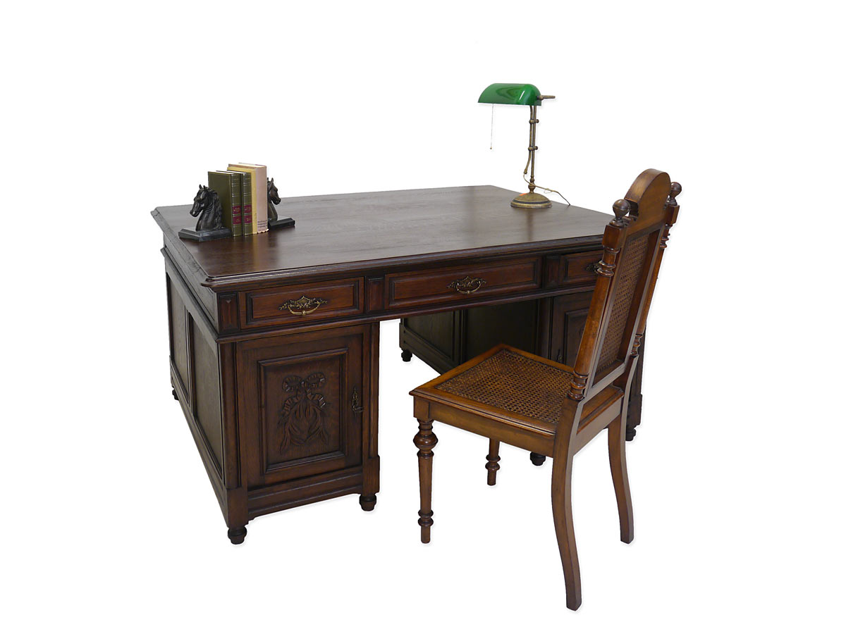 schreibtisch b rom bel partnerdesk antik historismus um 1900 eiche 4053 ebay. Black Bedroom Furniture Sets. Home Design Ideas