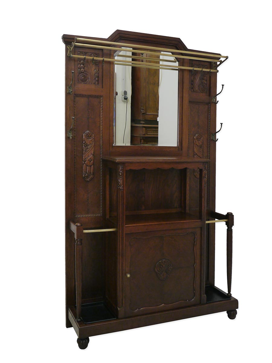 garderobe wandgarderobe flurgarderobe antik art deco eiche massiv 4055 ebay. Black Bedroom Furniture Sets. Home Design Ideas