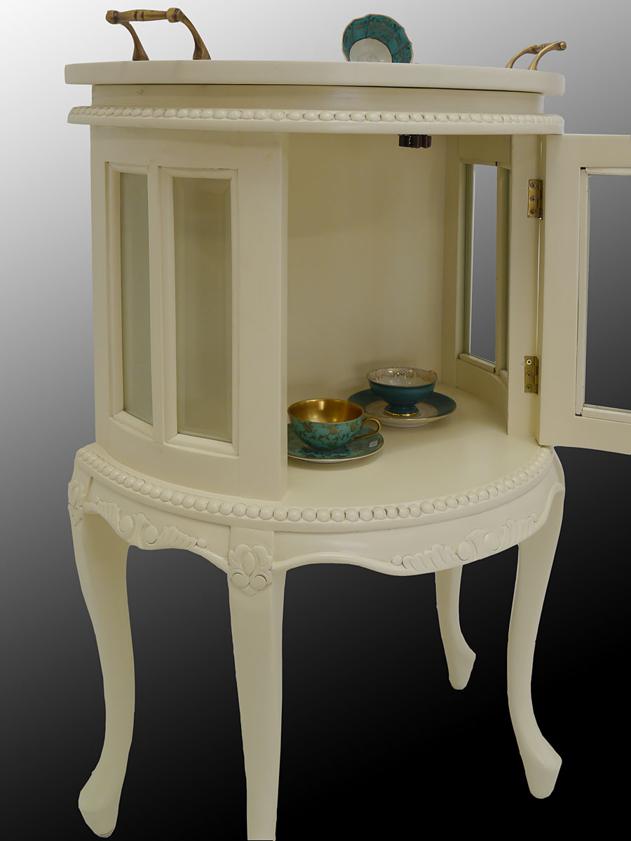 teeschrank barschrank vitrine antik stil massivholz halbrund creme wei 4057 ebay. Black Bedroom Furniture Sets. Home Design Ideas