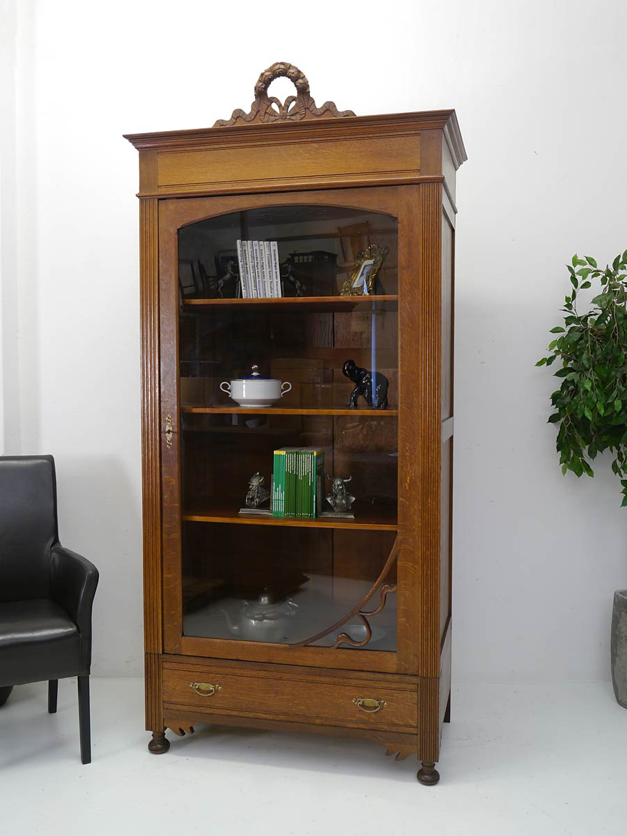 vitrine vitrinenschrank b cherschrank antik jugendstil um 1900 eiche 4128 ebay. Black Bedroom Furniture Sets. Home Design Ideas