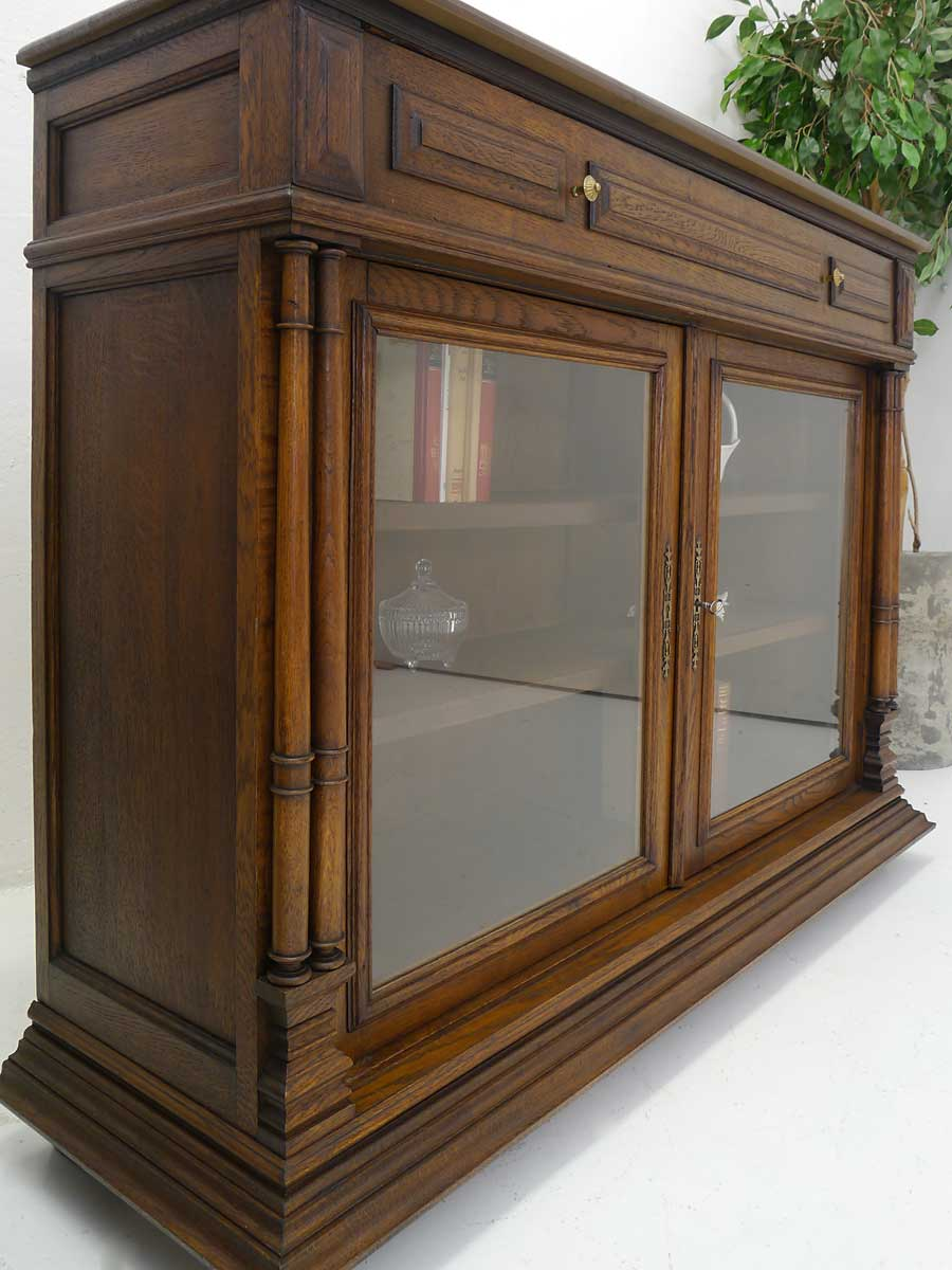 anrichte vitrine b cherschrank antik um 1900 eiche massiv 4129 ebay. Black Bedroom Furniture Sets. Home Design Ideas