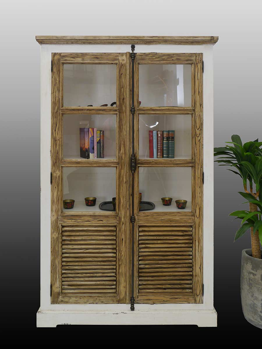 vitrine schrank vitrinenschrank b cherschrank landhausstil in shabby chic 4149 ebay. Black Bedroom Furniture Sets. Home Design Ideas