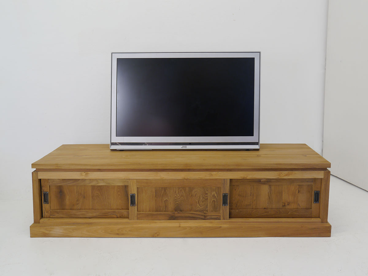 dekoratives lowboard tv board teakholz 180 cm ebay. Black Bedroom Furniture Sets. Home Design Ideas