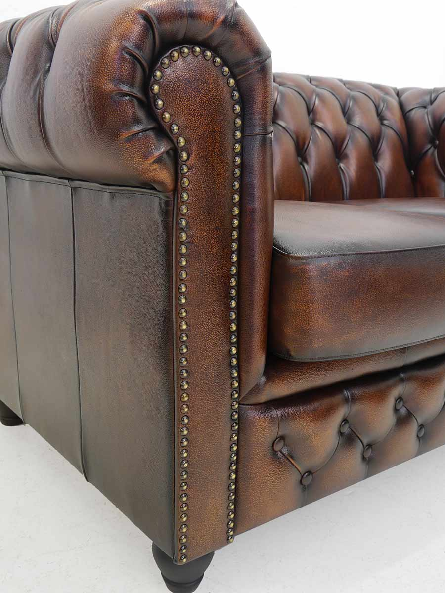 couch sofa ledersofa 2 sitzer chesterfield design leder in antik kupfer 4343 sitzm bel sofas. Black Bedroom Furniture Sets. Home Design Ideas