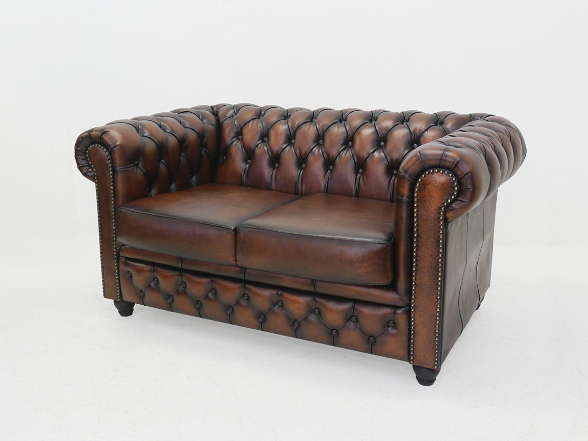 couch sofa ledersofa 2 sitzer chesterfield brand leder in. Black Bedroom Furniture Sets. Home Design Ideas