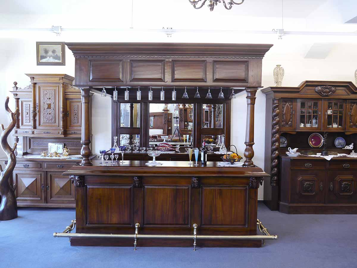 bar theke tresen hausbar im antiken stil aus massivholz nussbaumfarbton 4350 ebay. Black Bedroom Furniture Sets. Home Design Ideas