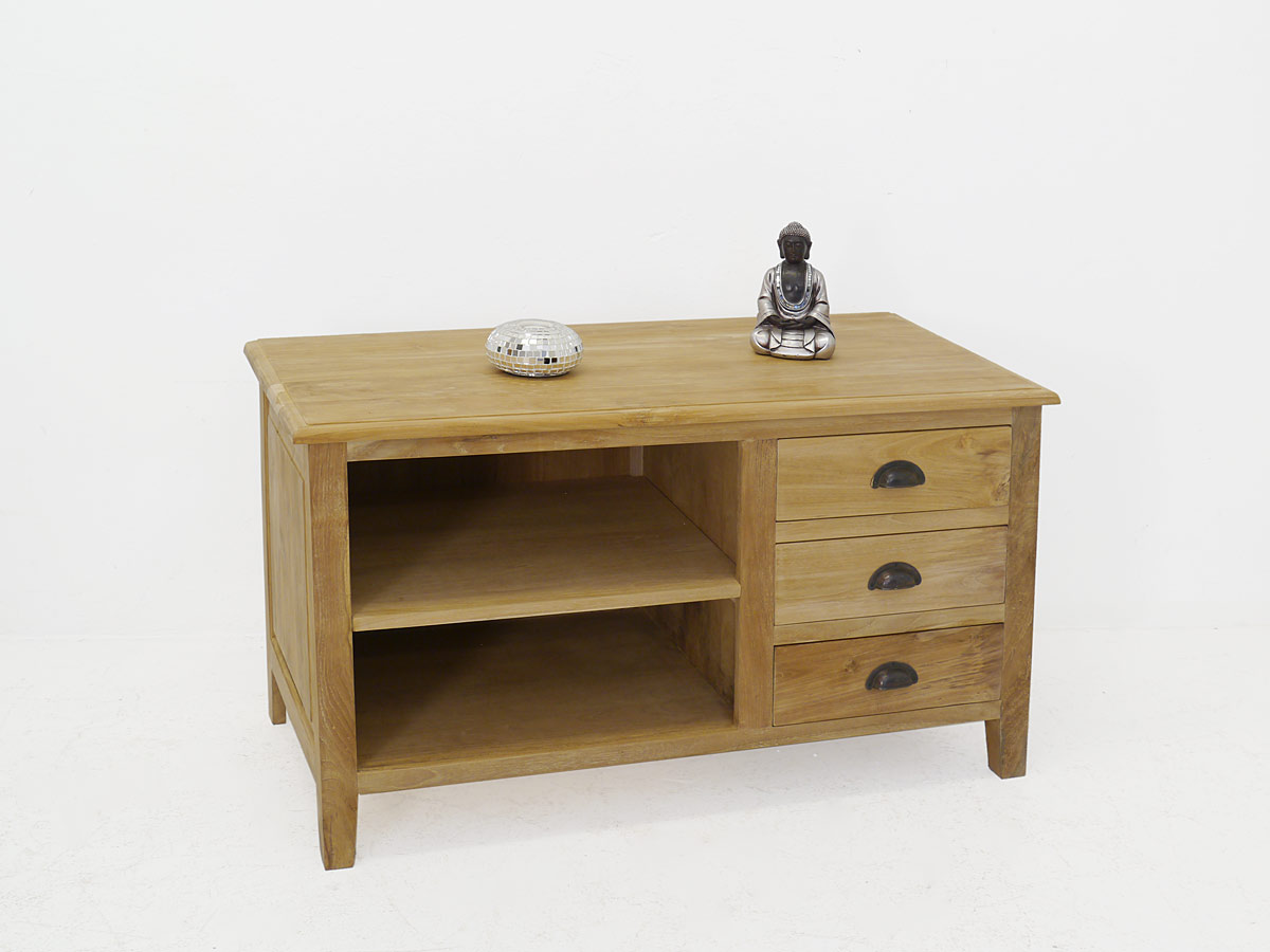tv schrank sideboard kommode teakholz massiv unbehandelt 4359 ebay. Black Bedroom Furniture Sets. Home Design Ideas