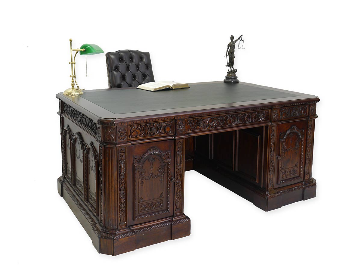 schreibtisch pr sidenten schreibtisch resolut desk reproantik massivholz 4381 schreibm bel. Black Bedroom Furniture Sets. Home Design Ideas