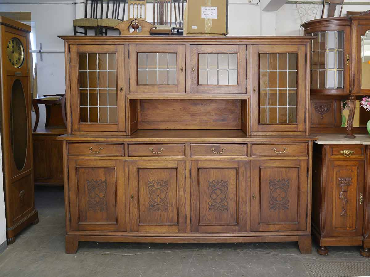 buffet buffetschrank wohnzimmerschrank jugendstil um 1900 eiche b 210 4587 ebay. Black Bedroom Furniture Sets. Home Design Ideas