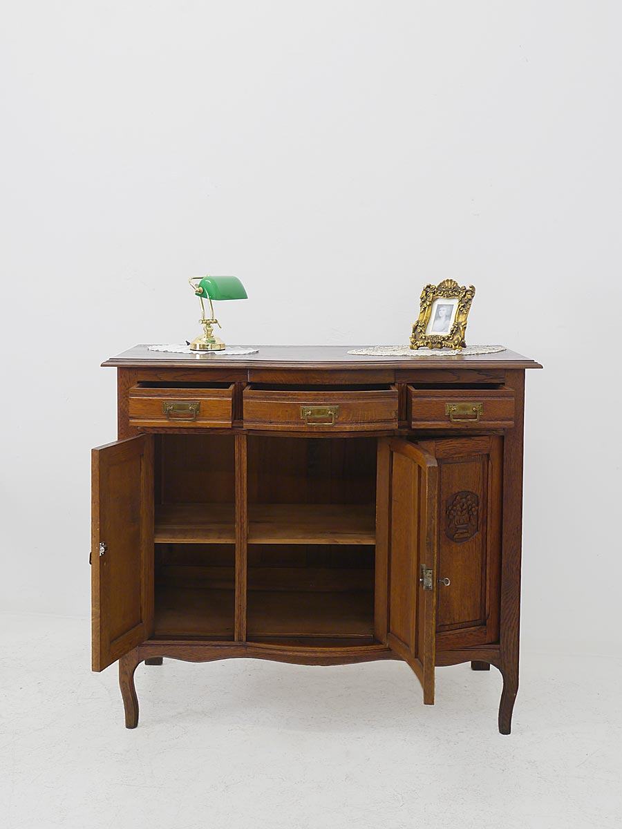 anrichte sideboard schrank antik jugendstil um 1900 eiche. Black Bedroom Furniture Sets. Home Design Ideas
