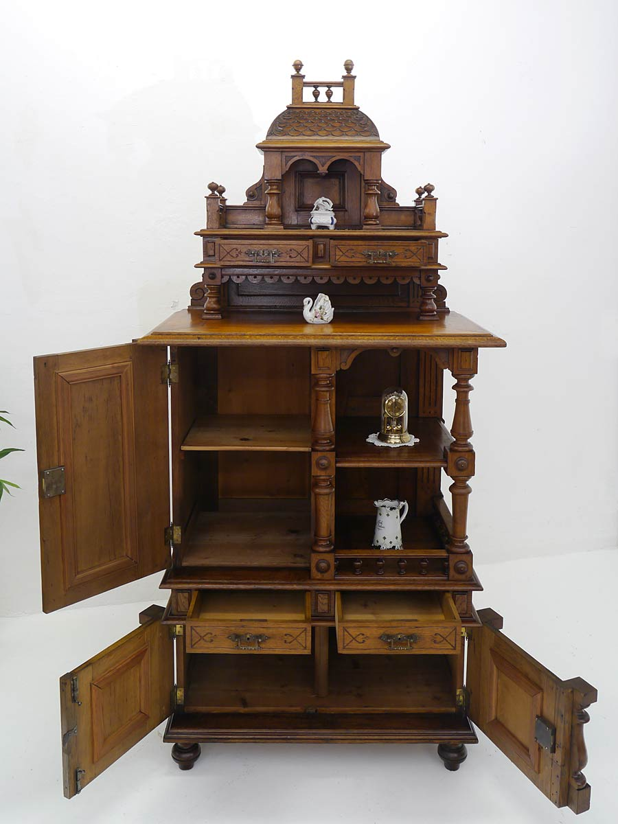 etagere kredenz kabinettschrank antik gr nderzeit um 1880. Black Bedroom Furniture Sets. Home Design Ideas