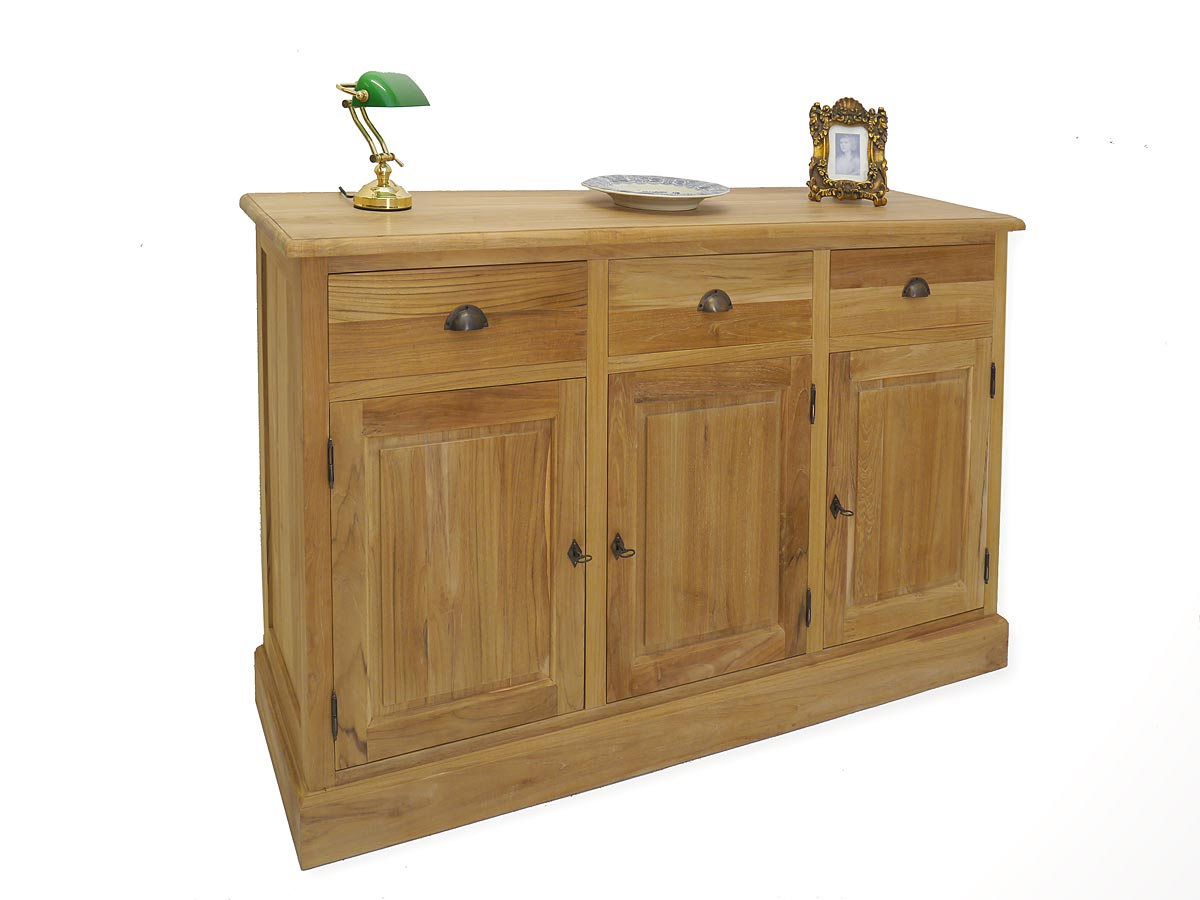sideboard anrichte schrank teakholz massiv unbehandelt im landhaus stil 4993 ebay. Black Bedroom Furniture Sets. Home Design Ideas