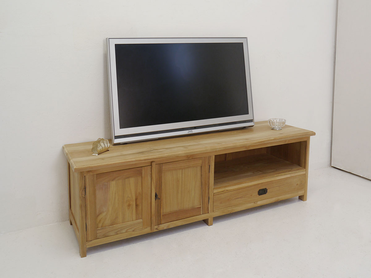 lowboard tv schrank fernsehtisch aus teakholz unbehandelt. Black Bedroom Furniture Sets. Home Design Ideas