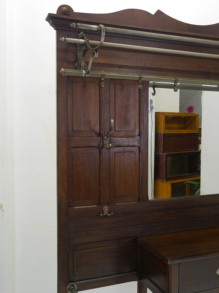 garderobe wandgarderobe flurgarderobe antik um 1910 gro formatig eiche 5113 ebay. Black Bedroom Furniture Sets. Home Design Ideas