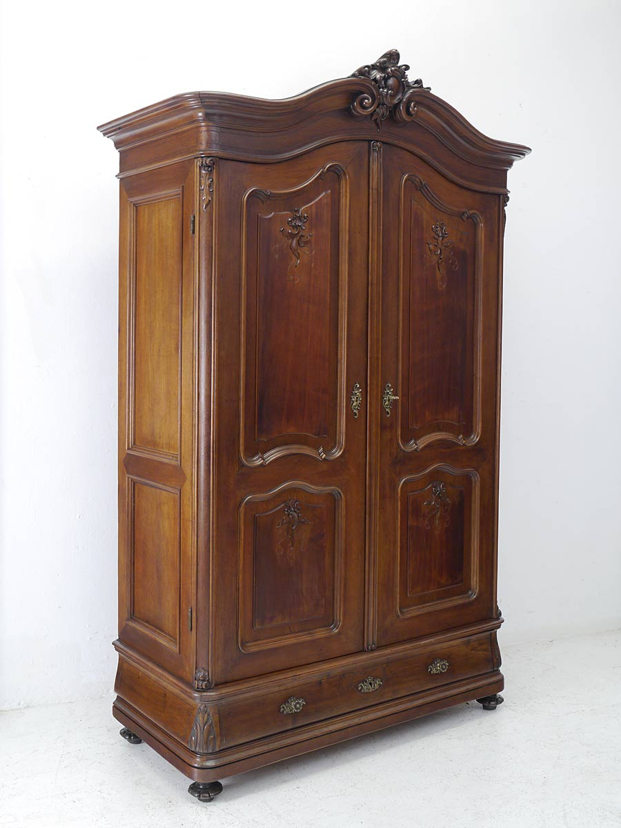kleiderschrank dielenschrank schrank louis philippe um 1860 nussbaum 5629 ebay. Black Bedroom Furniture Sets. Home Design Ideas