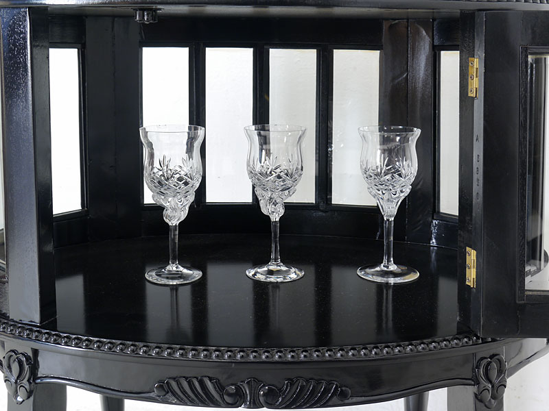 teeschrank barschrank beistelltisch antik stil massivholz in schwarz 5969 ebay. Black Bedroom Furniture Sets. Home Design Ideas