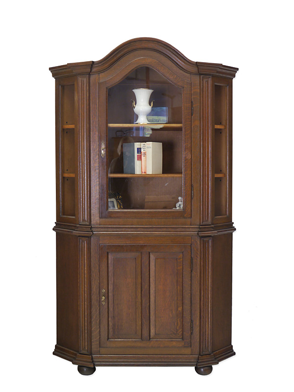 eckvitrine eckschrank vitrine aus eiche massiv 6204 ebay. Black Bedroom Furniture Sets. Home Design Ideas