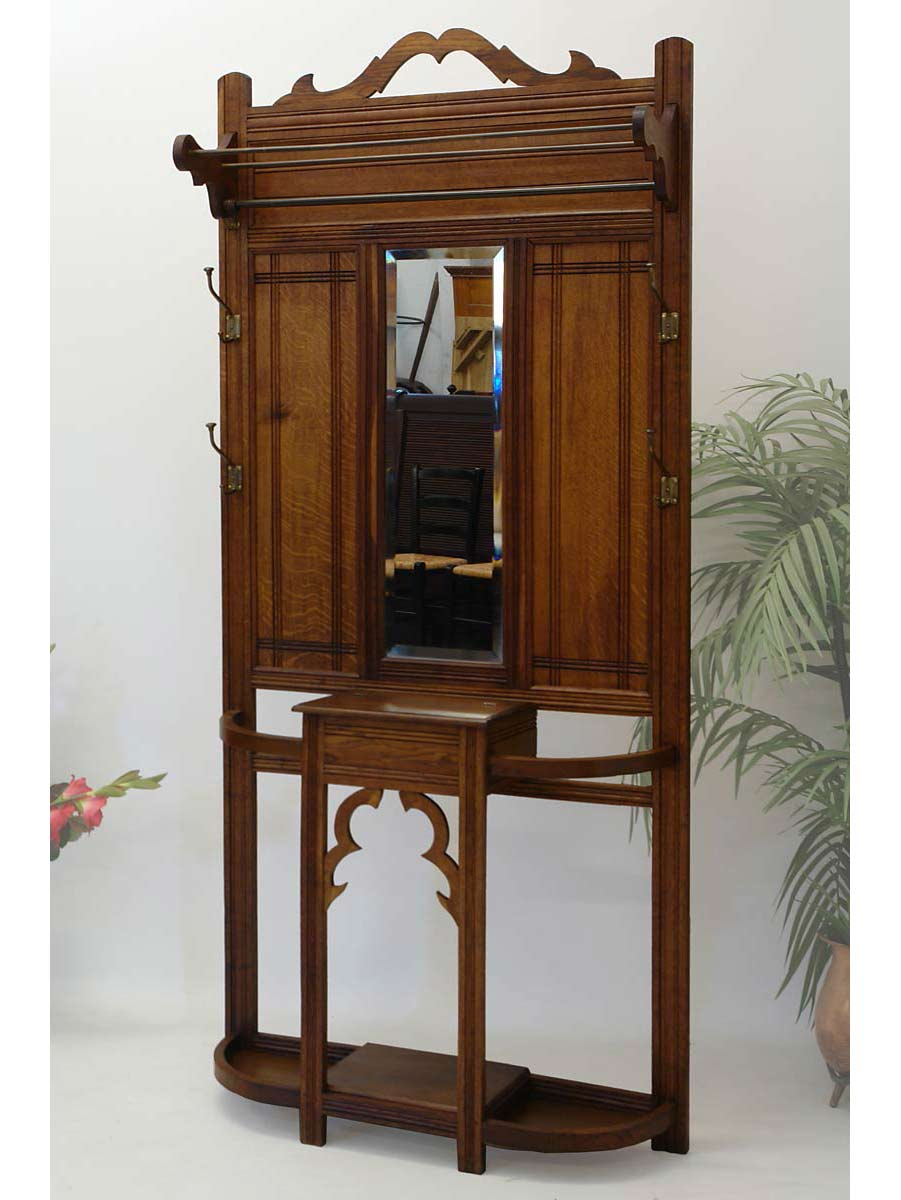 garderobe wandgarderobe antik um 1920 eiche mit spiegel und konsole 1973 ebay. Black Bedroom Furniture Sets. Home Design Ideas