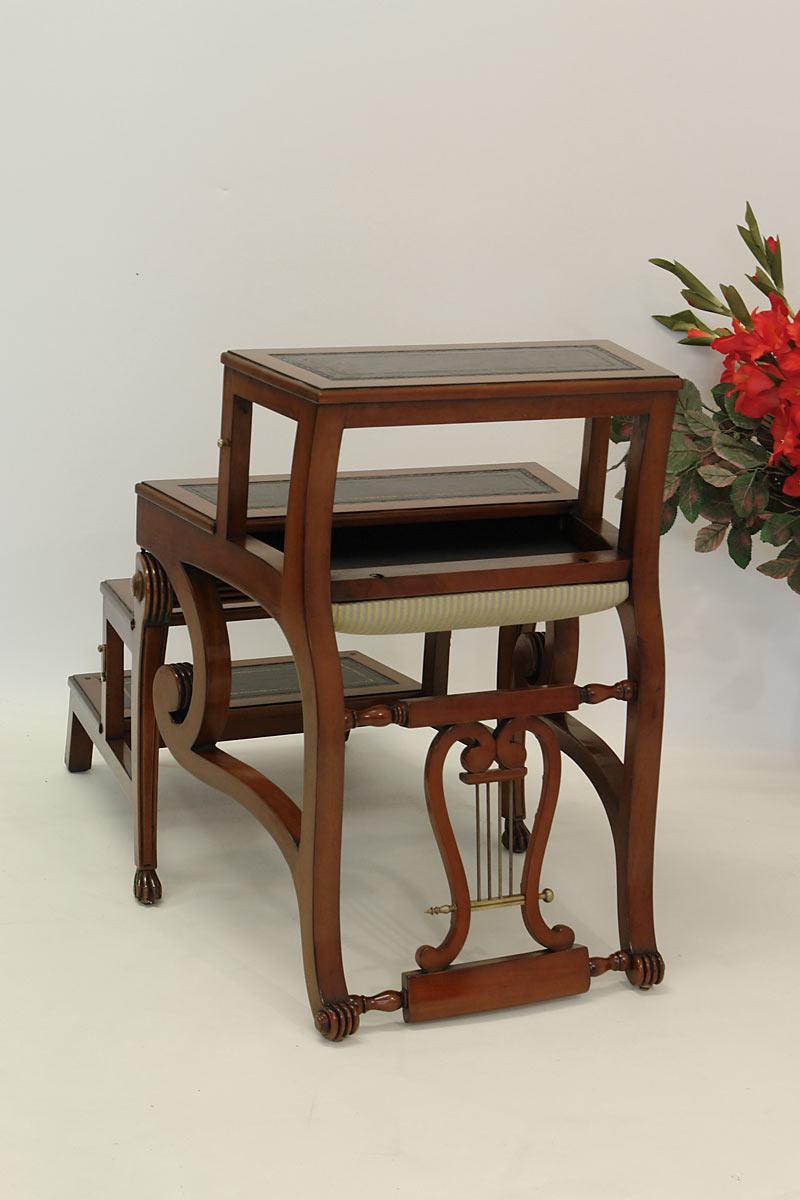 b rostuhl lyra treppenstuhl leiterstuhl aus mahagoni im antiken stil 1057. Black Bedroom Furniture Sets. Home Design Ideas