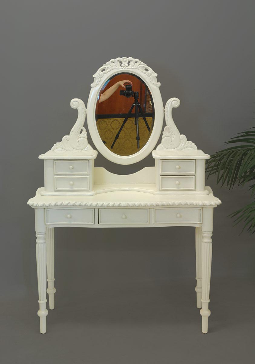 schminktisch frisierkommode mit spiegelaufsatz im antik stil in cremewei 1609 m bel tische. Black Bedroom Furniture Sets. Home Design Ideas