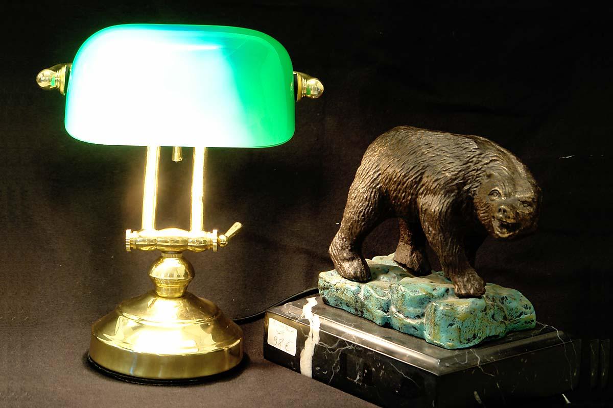 bankerlampe schreibtischlampe messing mit gr nem glasschirm e14 1891 ebay. Black Bedroom Furniture Sets. Home Design Ideas