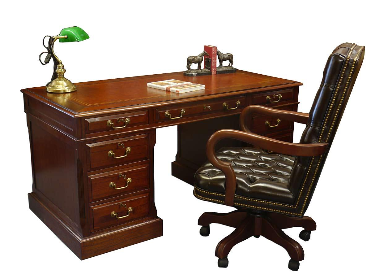 Schreibtisch Studio Globe Wernicke mit 6 Schubladen aus Mahagoni