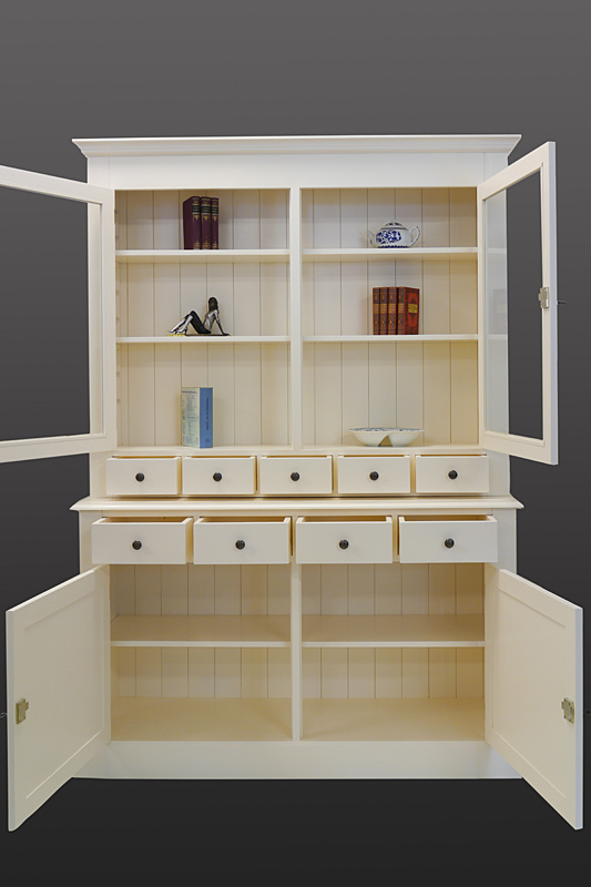 buffet schrank k chenschrank aus weichholz in creme wei. Black Bedroom Furniture Sets. Home Design Ideas