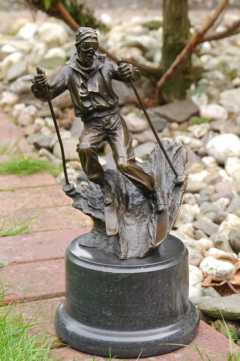 Dekorative Bronze Figur eines Skifahrers