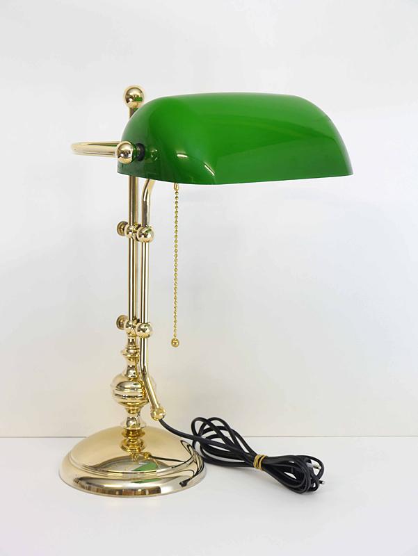 Bankerlampe mit grünem Glas