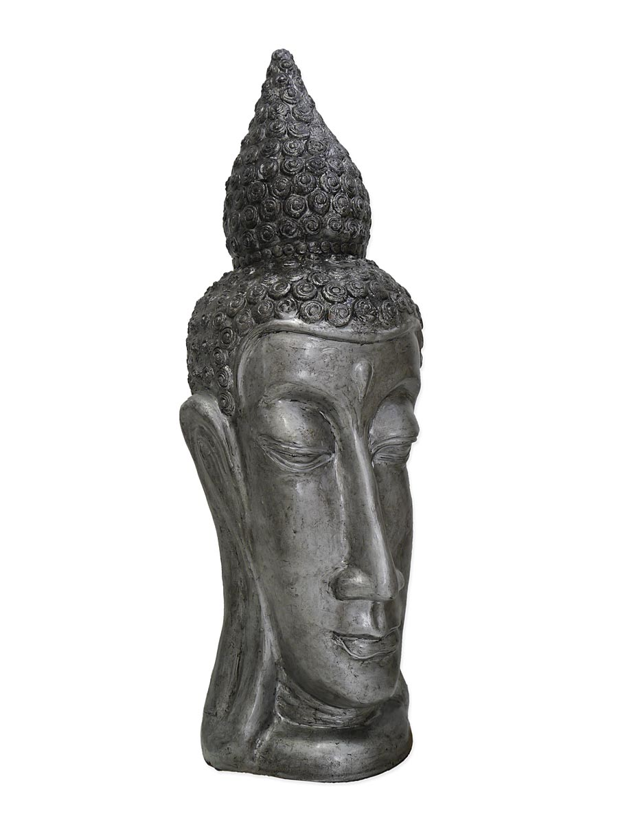 Buddha-Kopf in silber-schwarz