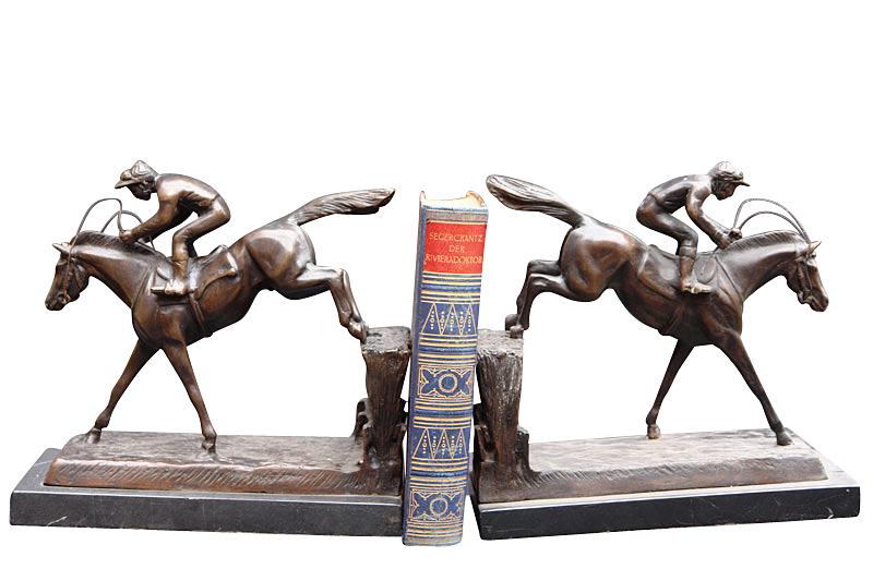 Dekorative Bronze Buchstützen Jockey