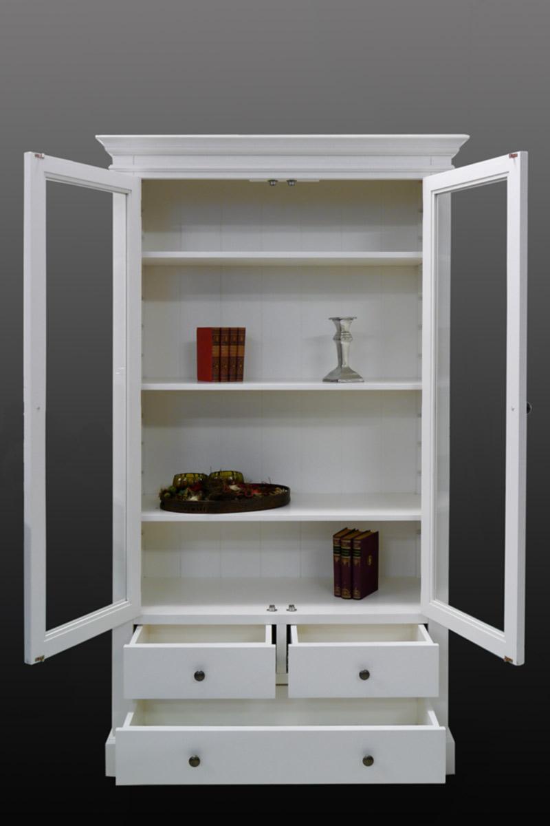 vitrine vitrinenschrank schrank wei im landhausstil massivholz 2232 m bel schr nke vitrinen. Black Bedroom Furniture Sets. Home Design Ideas