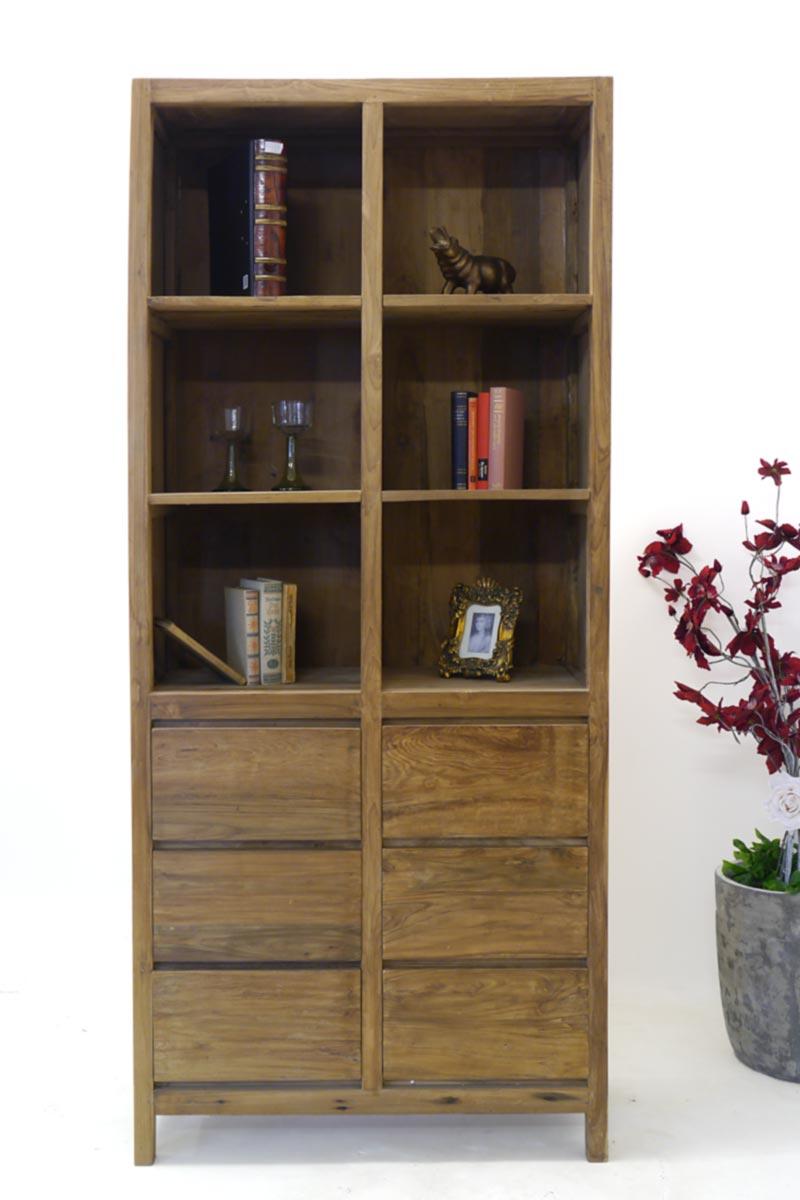 Das Bücherregal ist mit 6 Regalfächern und 6 Schubladen ausgesttet