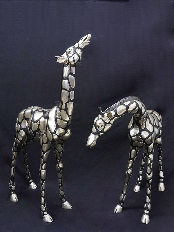 Giraffen Paar aus Bronze