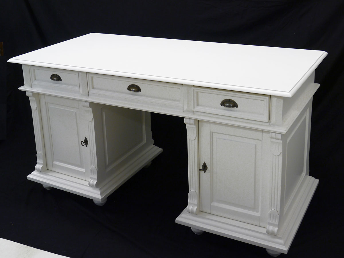 Schreibtisch holz antik  Schreibtisch Büromöbel Computertisch aus Massivholz in weiß Antiker ...